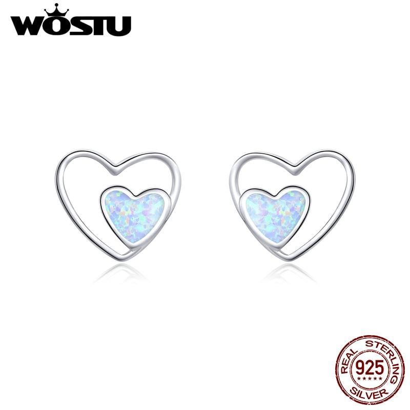 WOSTU Real 925 Sterling Silver Heart In Heart Opal Stud Earrings For Women Wedding Engagement Earrings Lovely Jewelry CQE858