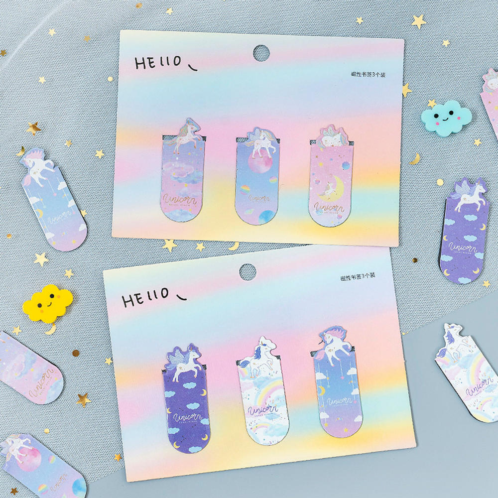 3Pc Unicorn Bookmarks Magnetic Girls Kawaii Bookmarks For Book Paper Files Organiser Office School Supplies Creative Staitonery