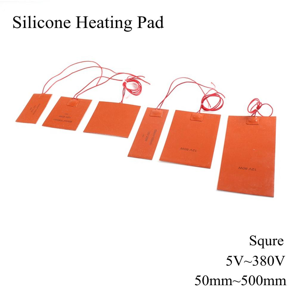 Square 5V 12V 24V 220V Silicone Heating Pad Electric Silicone Rubber Heat Mat Heated Bed Plate Flexible Waterproof 3D Printer