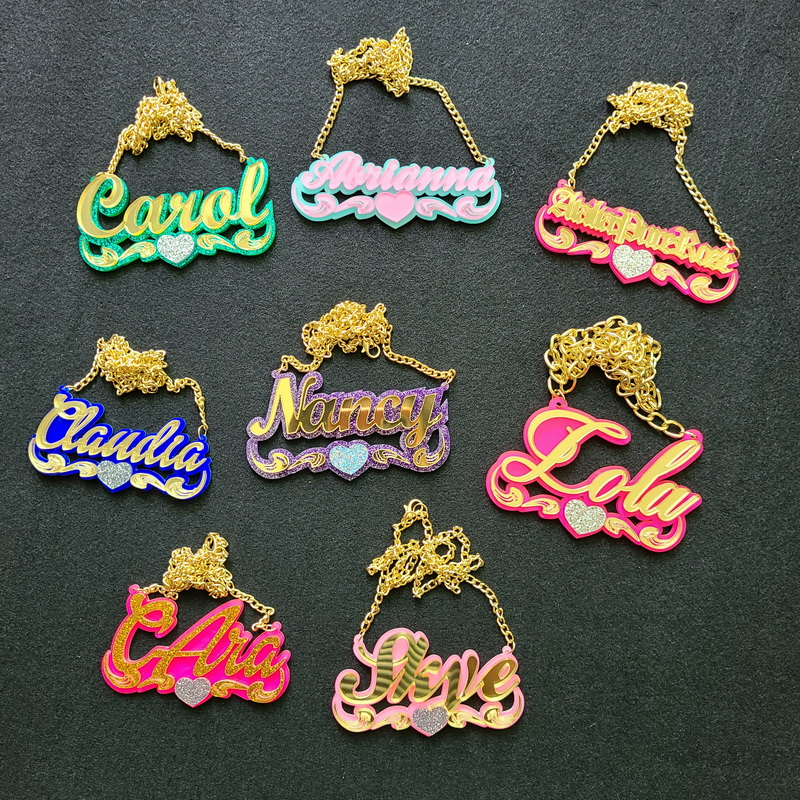 Child's Custom Necklace Baby Name Necklaces Women Kids Gifts Personalized Nameplates Acrylic laser Cut Jewrlry
