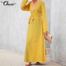 Celmia 2019 Fashion Casual High Waist Belt Long Shirt Dress Bohemian Polka Dot Print Ruffles Dress Plus Size Party Vestidos Robe