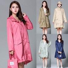 Frauen Mit Kapuze Regenmantel Wasserdichte Regen Jacke Graben Mantel Undurchlässig Lange Mode Luxus Rosa Damen Regen Abdeckung Mantel Kleidung