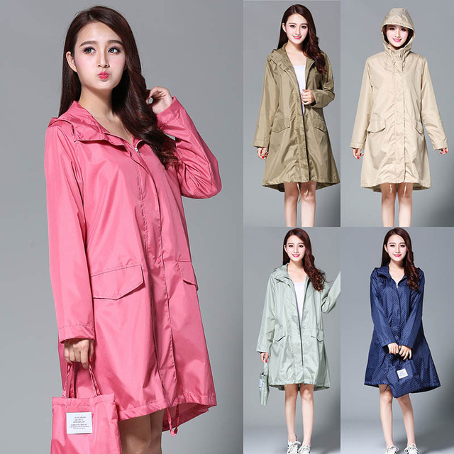 Womens Hooded Raincoat Waterproof Rain Jacket Trench Coat Impermeable Long Fashion Luxury Pink Ladies Rain Cover Cloak Clothes