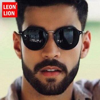 LeonLion-gafas De Sol redondas para hombre y mujer, lentes De Sol Retro De marca De diseñador, De moda, Vintage, De lujo 1