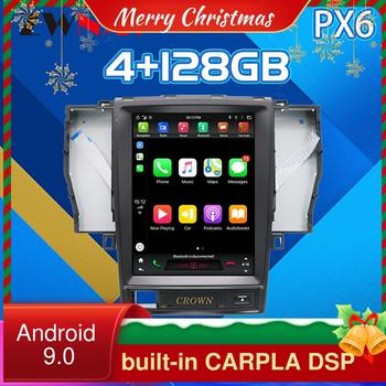 4G 128G For TOYOTA CROWN 12th Tesla Style Android 9 PX6 Car GPS Navigation Multimedia Player Auto Radio DSP CARPLAY 2005-2008 недорого