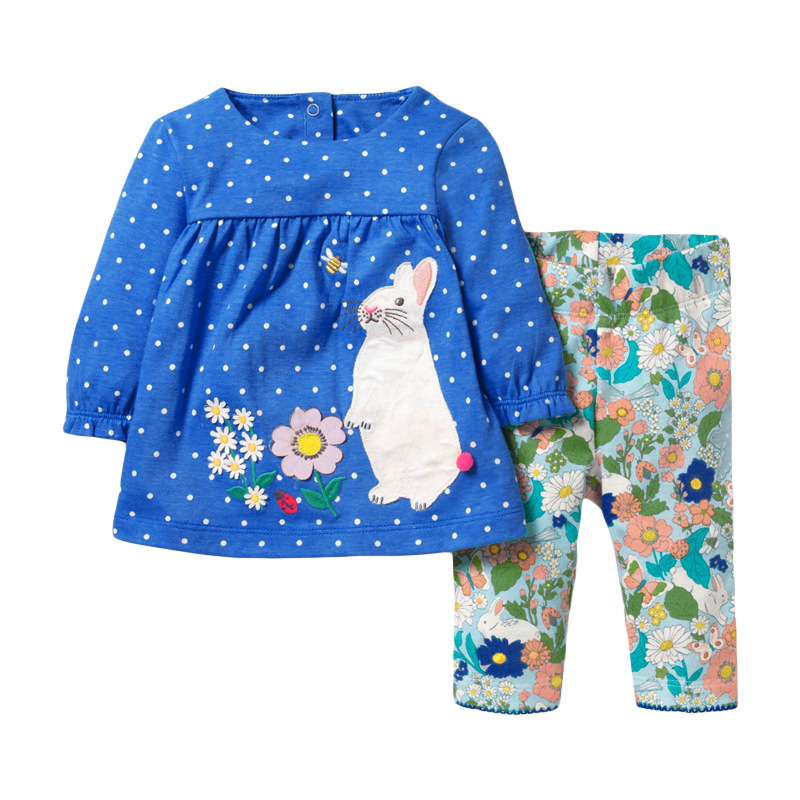 Little maven Girls Clothing Sets Animal Rabbit Baby Suits Children's Fall Boutique Outfits Kits for Kids Long Sleeve Dress Sets 1