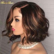 Ombre curto bob ondulado perucas da parte dianteira do laço do cabelo humano hd 13x4 laço frontal do cabelo humano pré arrancado glueless curto bob peruca para mulher
