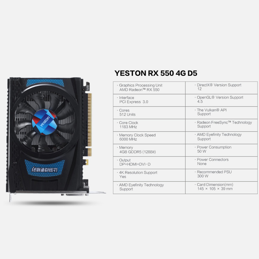 Yeston Radeon Graphics Cards RX 550 With 6000 MHz Speed For Gaming Desktop Computer 5
