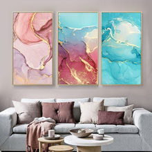 Canvas Painting Mix Color Marble Vein Poster Print on Abstract Wall Painting Wall Art Pictures For Living Room Home Decoration(China)