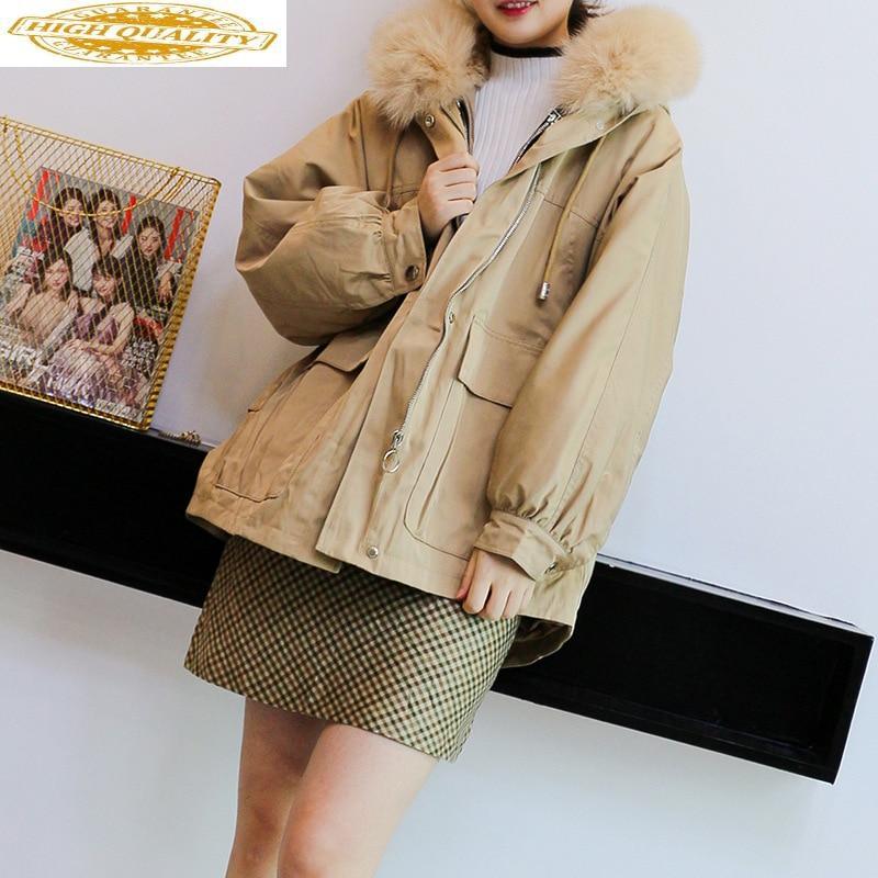 Real Fur Coat Winter Coat Women Clothes 2019 Korean Fox Fur Collar Rex Rabbit Fur Coat Women Hooded Warm Parka PF-502 YY1878