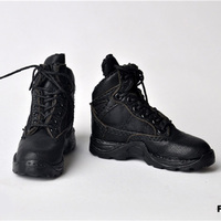 FLAGSET 1/6 Scale Unisex Soldier Hollow Tactical Boots Combat Shoes Black Male Martin boots for 12 inch Action Figure accessorie