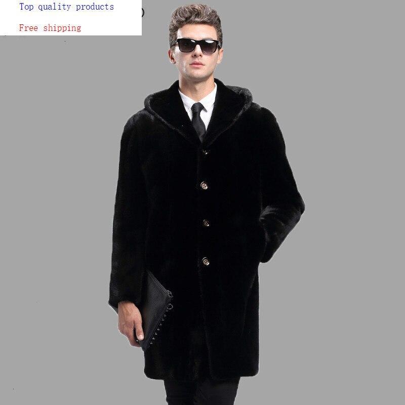 2020 New Real Mink Fur Coat Men Winter Jacket Hooded Long Mens Mink Coat Plus Size Natural Mink Fur Jackets KJ3093