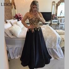 Роскошная золотая Аппликация из бисера с жемчугом; большие размеры; платье для матери невесты; вечерние платья с длинными рукавами черного цвета для гостей; строгий халат de Soire