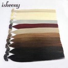 """Estensioni dei capelli Isheeny 50pc Fusion Nail/U Tip 14 """"18"""" 22 """"Remy cheratina capelli umani europei sulla capsula"""