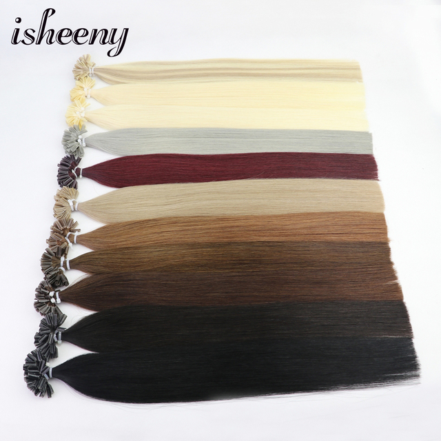 "Isheeny 50pc Fusion Nail/U Tip Hair Extensions 14"" 18"" 22"" Remy Keratin European Human Hair On Capsule"