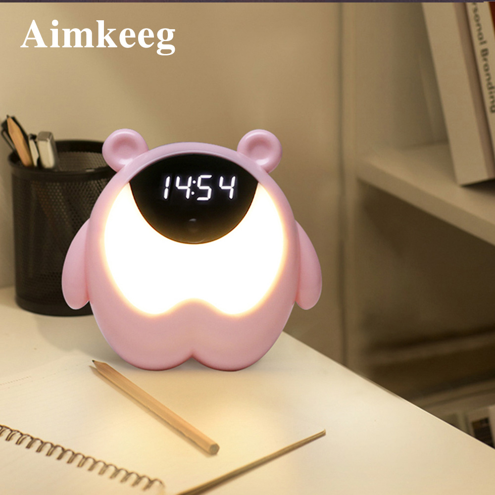 Little Night Light RGB Alarm Light Cute Bear Pattern Alarm Clock With Music Children BABY Gift Decoration Table Lamp