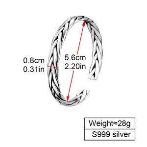 Image 2 - ZABRA pulsera abierta de plata de ley 999 trenzada para amantes, Unisex, joyería Retro para el Día de San Valentín