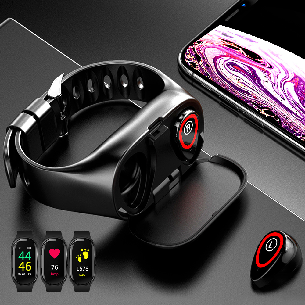 Honesum Smart Watch With Bluetooth Earphones V 5.0 Earphone Wireless Heart Rate Monitor Stereo Earbud Headset For Sport Running