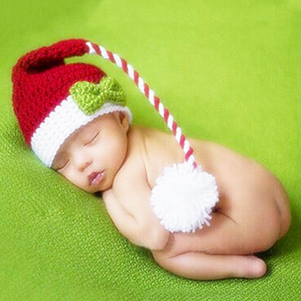Unisex Newborn Baby Woolen Yarn Hat Stripes Bowknot Baby Long Tail Hat Crochet Christmas Cap Photo Props