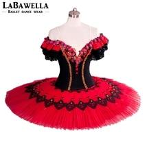 Bailarina espanhola panqueca tutu clássico don quixote ballet tutu traje vermelho profissional ballet tutus menina bt8957