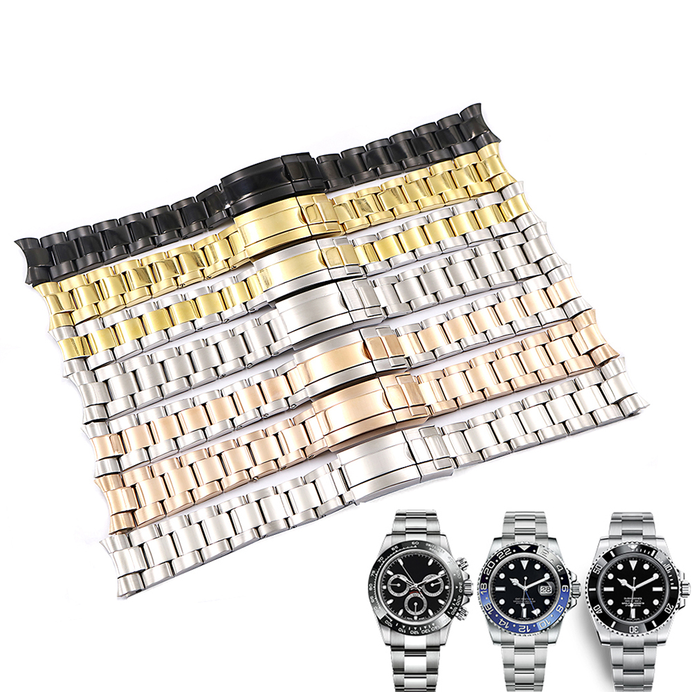 Rolamy 20mm Solid Curved End Screw Links Clasp Steel  Watch Band Bracelet For Rolex OYSTER Style Subamriner Daytona GMT
