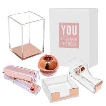 Conjunto de presentes acrílico rosê ouro, grampeador e acessórios de mesa para escritório feminino