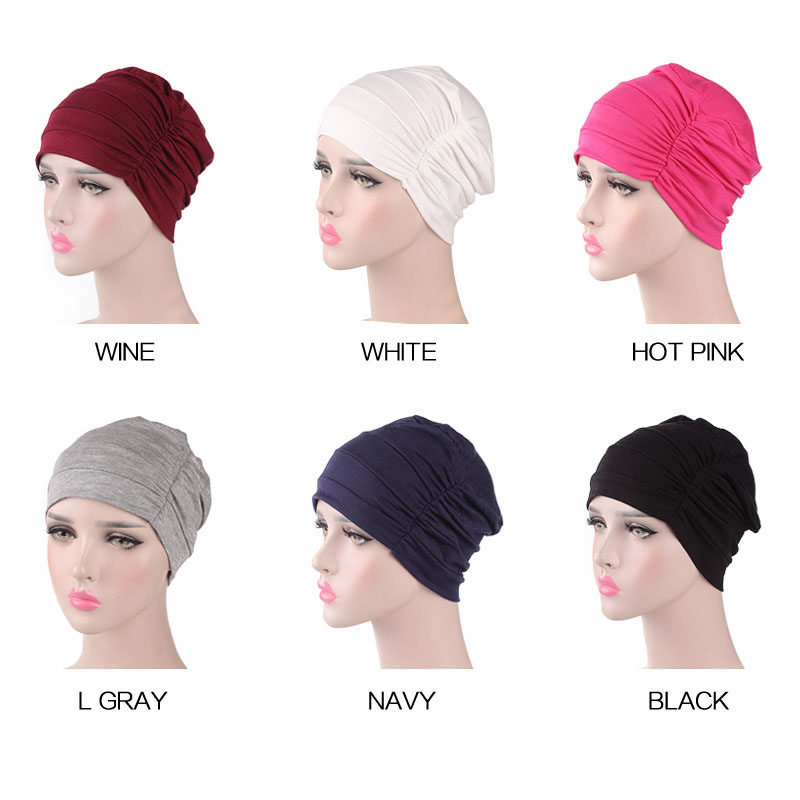 Women Soft Slouchy Ruffle Chemo Beanie Cap Sleep Turban Hat Liner For Cancer Hair Loss Caps Cotton Bandana Head Wrap Turbante