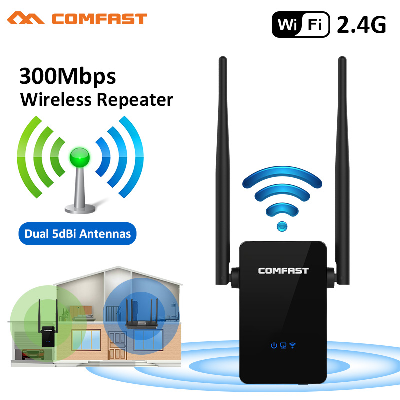 2.4G WiFi Repeater 300Mbps Repetiteur Wifi 2 Wi Fi Antenna Network Wifi Range Extender Signal Booster Repetidor For Home Office