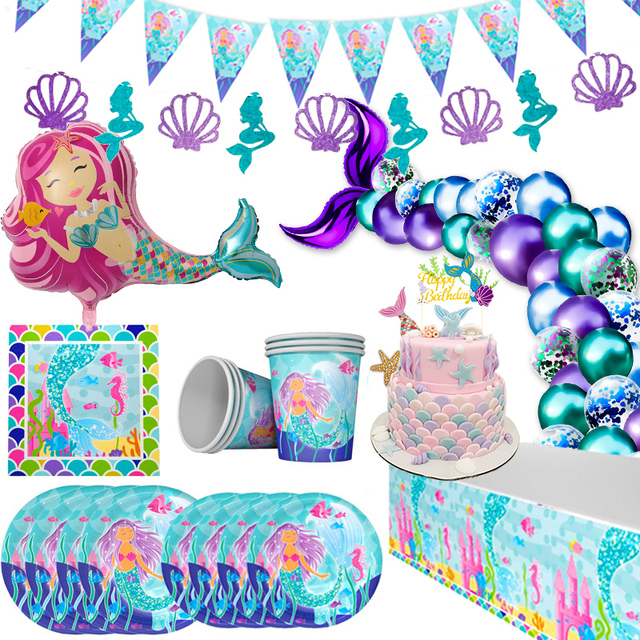 Little Mermaid Party Decor Disposable Tableware Kit Mermaid Birthday Under the Sea Girl First Birthday Party Supply Baby Shower 1