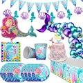 WEIGAO Kleine Meerjungfrau Party Decor Meerjungfrau Geburtstag Party Einweg Geschirr Kit Unter die Meer Mädchen Ersten Geburtstag Party Versorgung