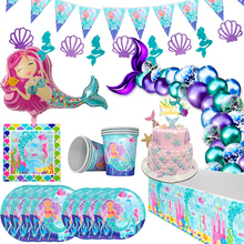 Tableware-Kit Birthday-Party-Supply Party-Decor Mermaid First Disposable WEIGAO Under-The-Sea-Girl