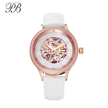 PB Watches Women Mechanical Automatic Hollow Out Dial Watches For Women Leather Strap Crystal Quartz Waterproof Luxury Brand