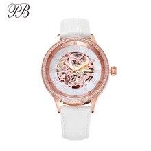 Women ブランドの高級自動ローマ数字ダイヤル女性の腕時計レザークォーツ防水機械式時計 Butterfly Princess
