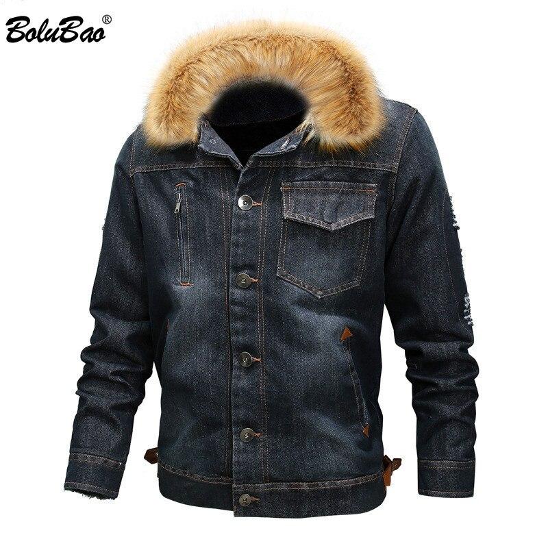 BOLUBAO Fashion Brand Men Denim Jackets Winter Men's Casual Washed Denim Jacket Male Fur Collar Thick Denim Jacket Coats