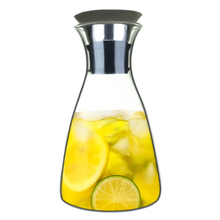 32oz Glass Carafe With Stainless Steel Lid Water Jug Large Capacity Cold Decanter Juice Teapot