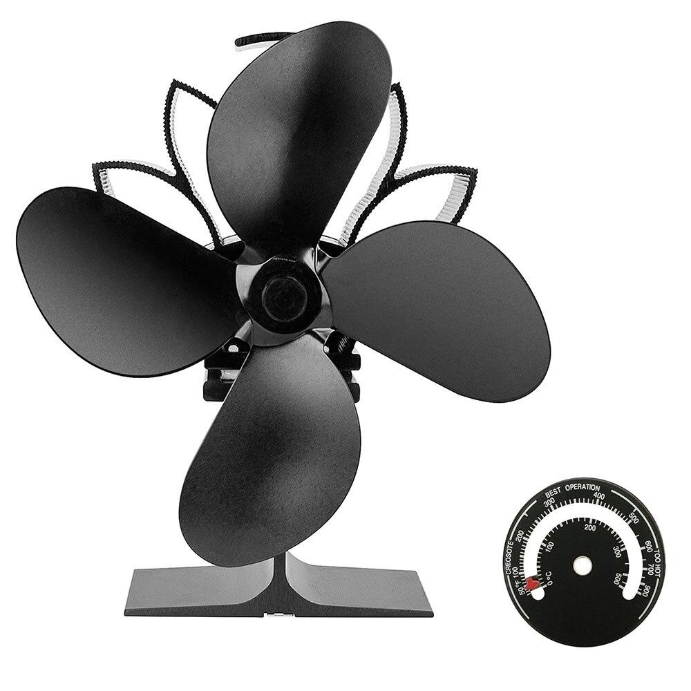 Aluminum Alloy Stove Fan Blade Heat Powered 4 Blades Stove Fan Winter Home Wood Log Burning Heat Distribution Silent Stove Fan