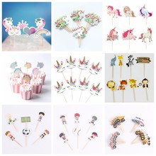 Unicorn Party Cake Cupcake Topper Picks Cake Flags Kids Baby Shower Birthday Wedding Party Cake Decoration Supplies 24/72pcs/lot(China)
