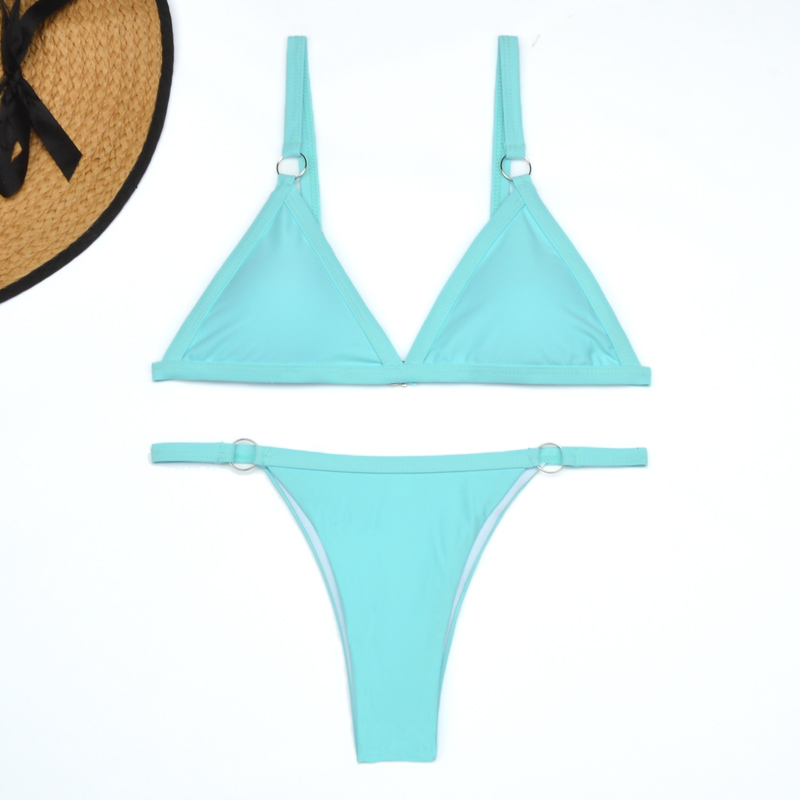 Micro Bikinis de Tanga, ropa de baño Sexy del 2020 para mujer, traje de baño femenino unicolor con realce, conjunto de Bikini brasileño 4