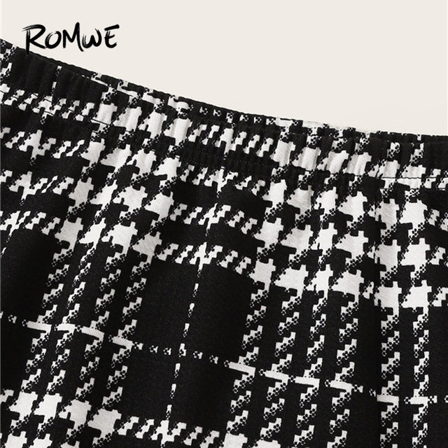 ROMWE Plaid Textured Mini Skirts Womens Spring Fall 2019 Clothes Mid Waist Black Skirt White Skirt A Line Split Hem Korean Skirt 2