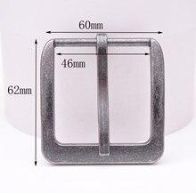 Boucle de ceinture à broche simple, 62x60MM (intérieur 46 MM), rétro, argent, deux tons, carré, large
