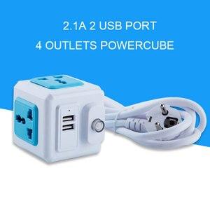 Image 3 - האיחוד האירופי תקע רב Powercube כוח רצועת אוניברסלי 2 USB 4 חנויות Extender חשמלי 1.8M כבל שקע רשת מסנן של בית משרד