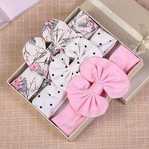 Floral-Bows Headbands Hair-Accessories Bowknot Girls Kids Cotton Dot 3pcs/Set