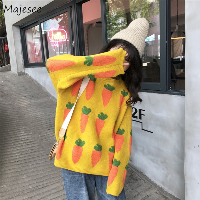 Sweater Women Plus Size Printed Pullover Warm Winter Clothes Womens Sweaters Korean Fashion Females Clothing Harajuku Casual