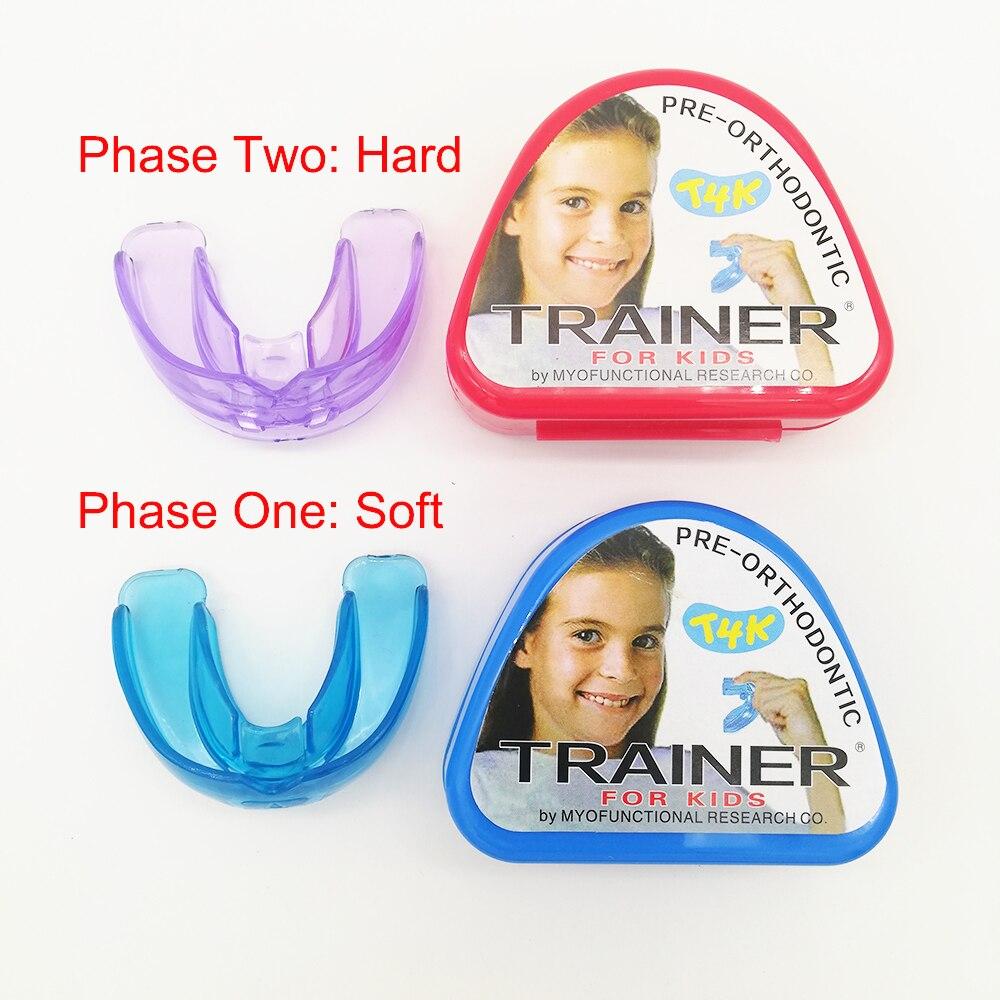 1 set T4K enfants dent dentaire appareil orthodontique formateur pour enfants dents alignement bretelles embouchures Phase douce et dure