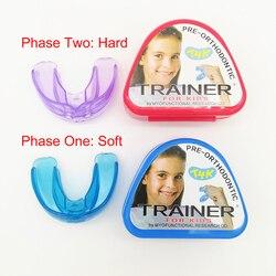 Conjunto 1 T4K Crianças Tooth Dental Ortodontia Appliance Instrutor para Crianças Fase de Alinhamento Suspensórios Boquilhas Dentes Moles e Duros