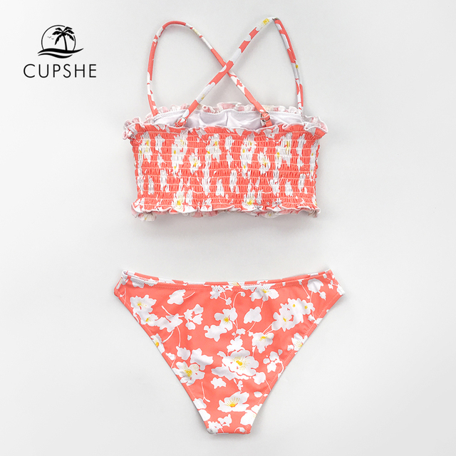 CUPSHE Pink Floral Smocked Bandeau Top Low-Waitsed Bikini Sexy Swimsuit Two Pieces Swimwear Women 2020 Beach Bathing Suits 3
