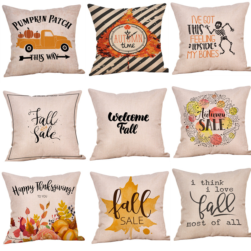 Pillowcase New Fashion Halloween Pillow Case  Cotton Linen Cover Gift 45*45 Cm taie doreiller