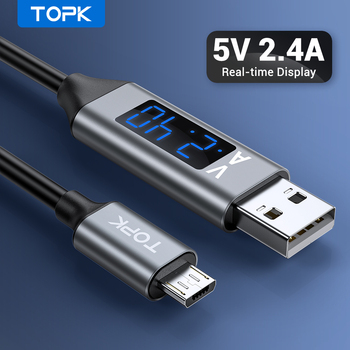 цена на TOPK 1M Micro USB Cable Voltage and Current Display Data Sync USB Cable For Samsung Xiaomi Micro USB Port