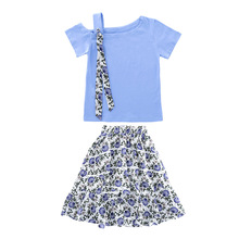 Summer Girls Clothes Set Sweet Off Shoulder T-shirt + Floral Skirt 2pcs Child Clothing Suit 8 10 Year Kids Girl Clothes Outfits girls clothes set 2018 spring autumn girls t shirt and skirt pants 2pcs outfits kids clothes fashion suit for children clothing