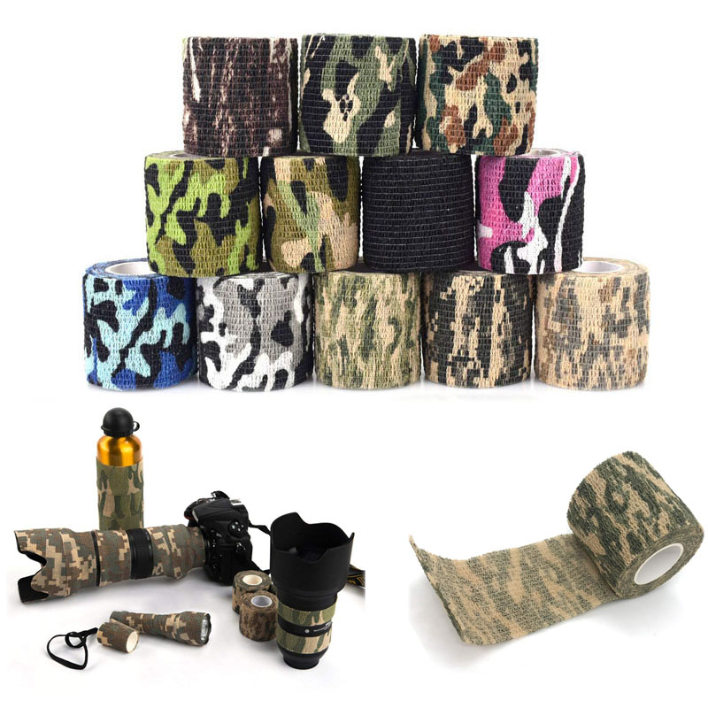 Multi-Functional Camouflage Bandage Self-Adhesive Protective Camouflage Tape Wrap Non-Woven Fabric Stealth Tape Stretch Bandage